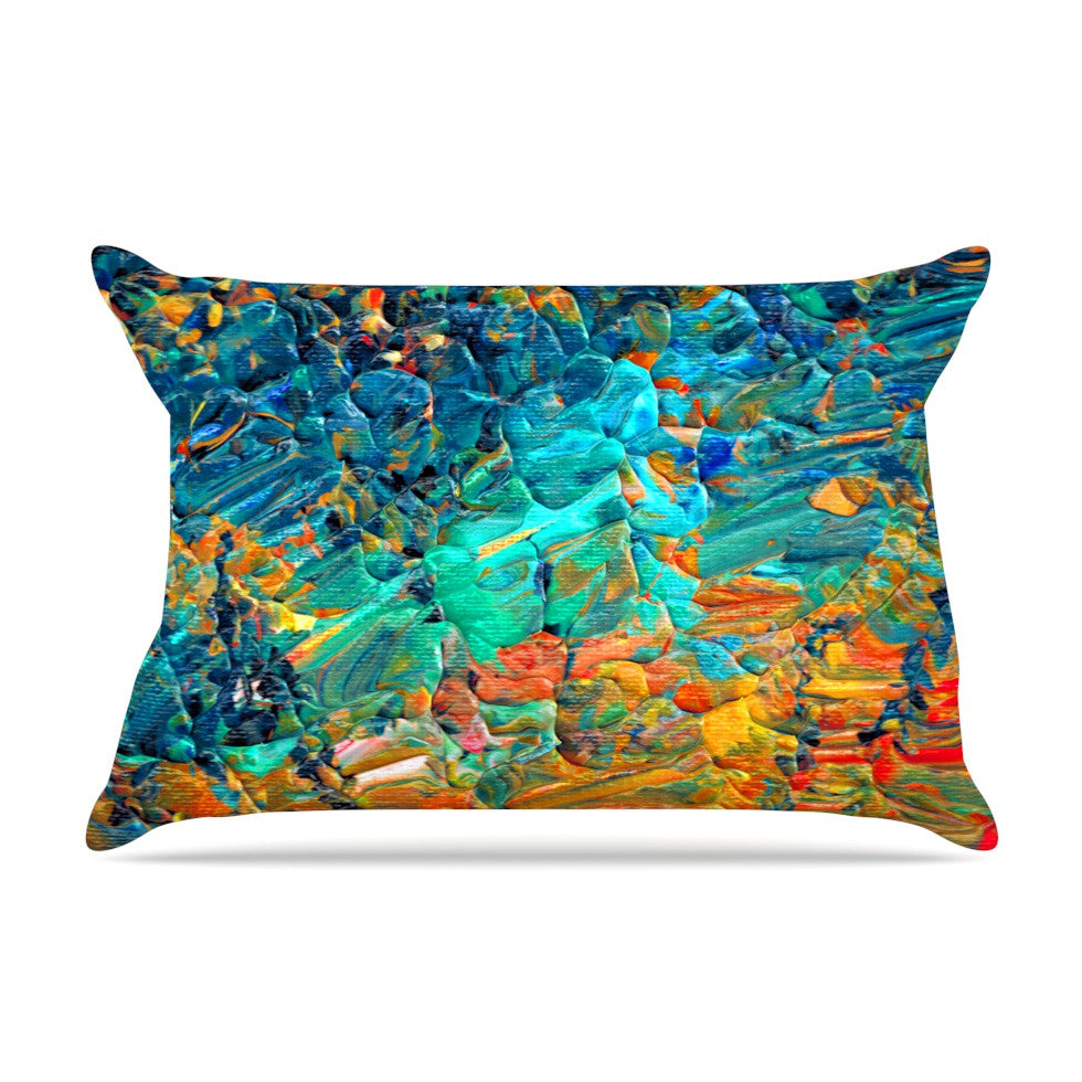 "Ebi Emporium ""Eteranl Tide II"" Teal Orange Pillow Sham - KESS InHouse"