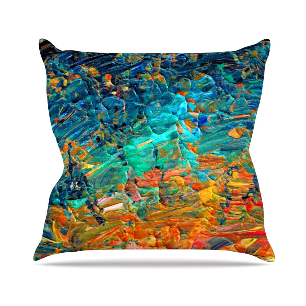 "Ebi Emporium ""Eteranl Tide II"" Teal Orange Outdoor Throw Pillow - KESS InHouse  - 1"