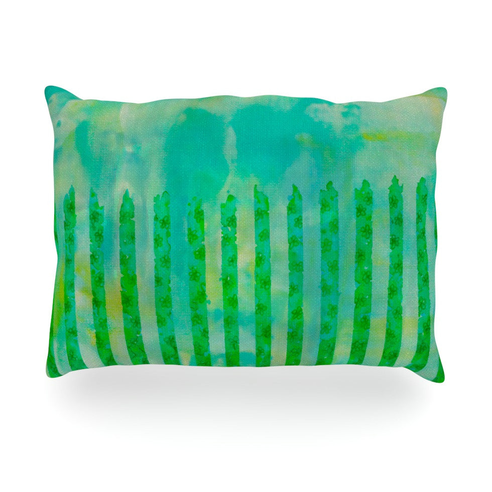 "Ebi Emporium ""Fancy This"" Green Teal Oblong Pillow - KESS InHouse"