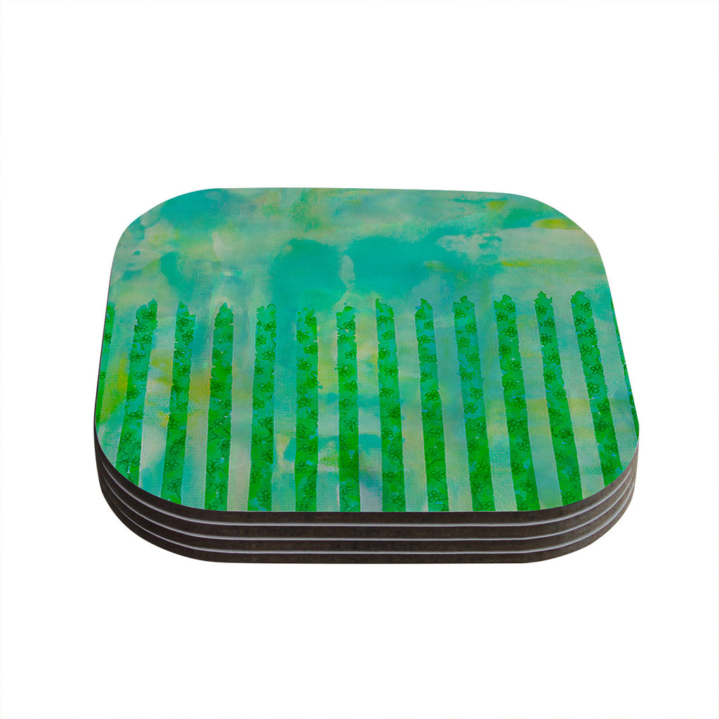 "Ebi Emporium ""Fancy This"" Green Teal Coasters (Set of 4)"