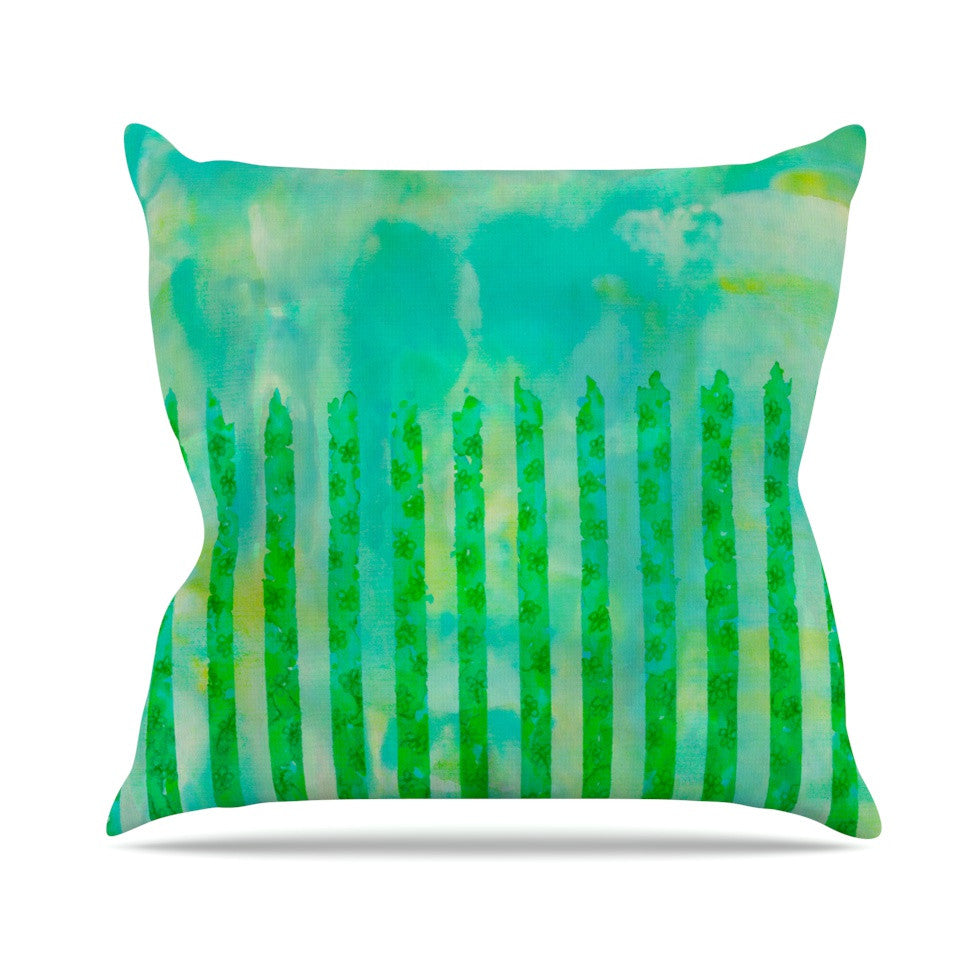 "Ebi Emporium ""Fancy This"" Green Teal Throw Pillow - KESS InHouse  - 1"