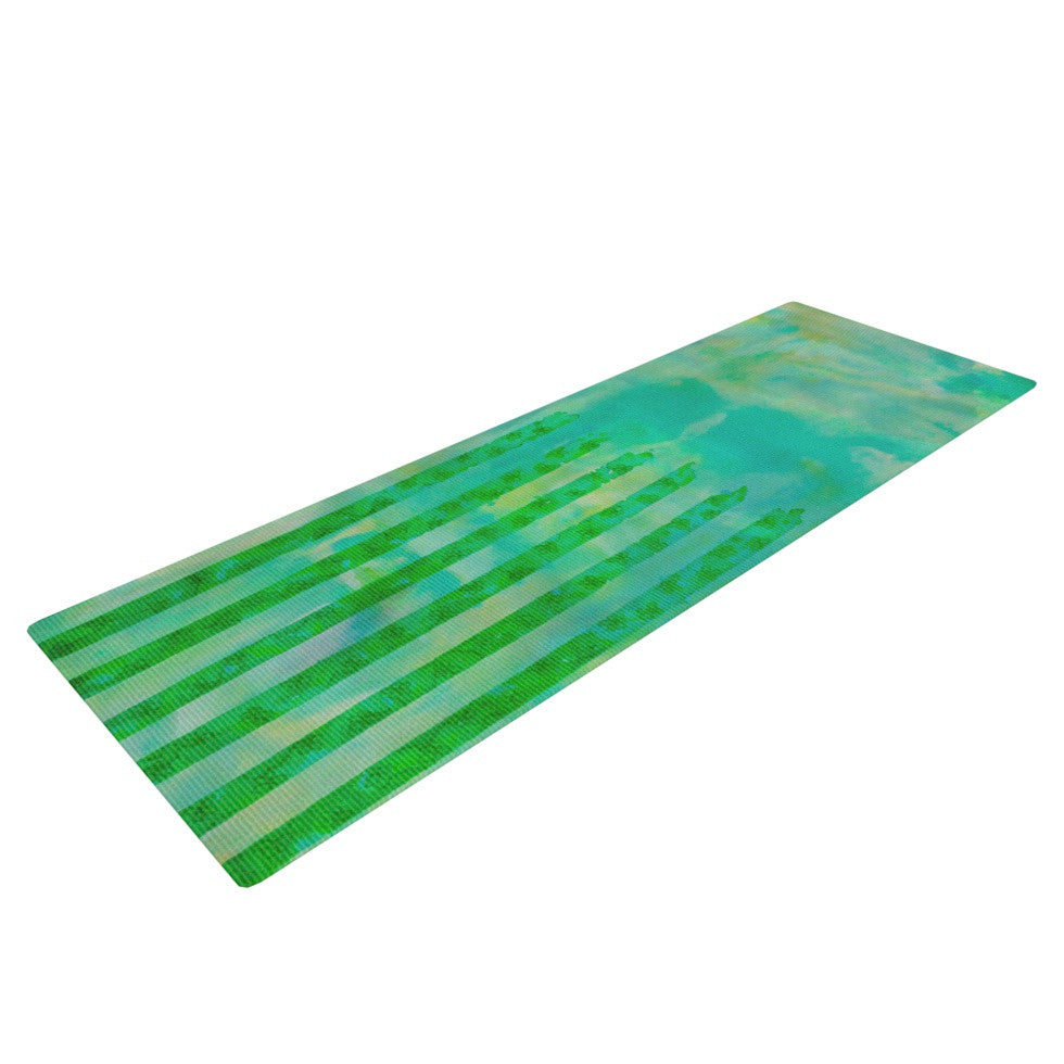 "Ebi Emporium ""Fancy This"" Green Teal Yoga Mat - KESS InHouse  - 1"