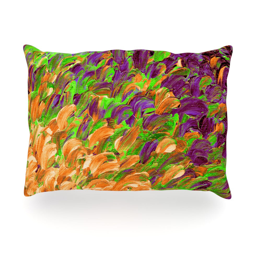 "Ebi Emporium ""Follow the Current III"" Orange Green Oblong Pillow - KESS InHouse"