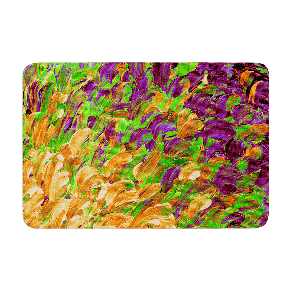 "Ebi Emporium ""Follow the Current III"" Orange Green Memory Foam Bath Mat - KESS InHouse"