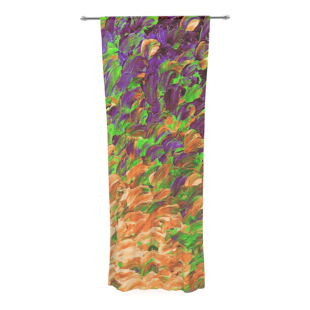 "Ebi Emporium ""Follow the Current III"" Orange Green Decorative Sheer Curtain - KESS InHouse  - 1"