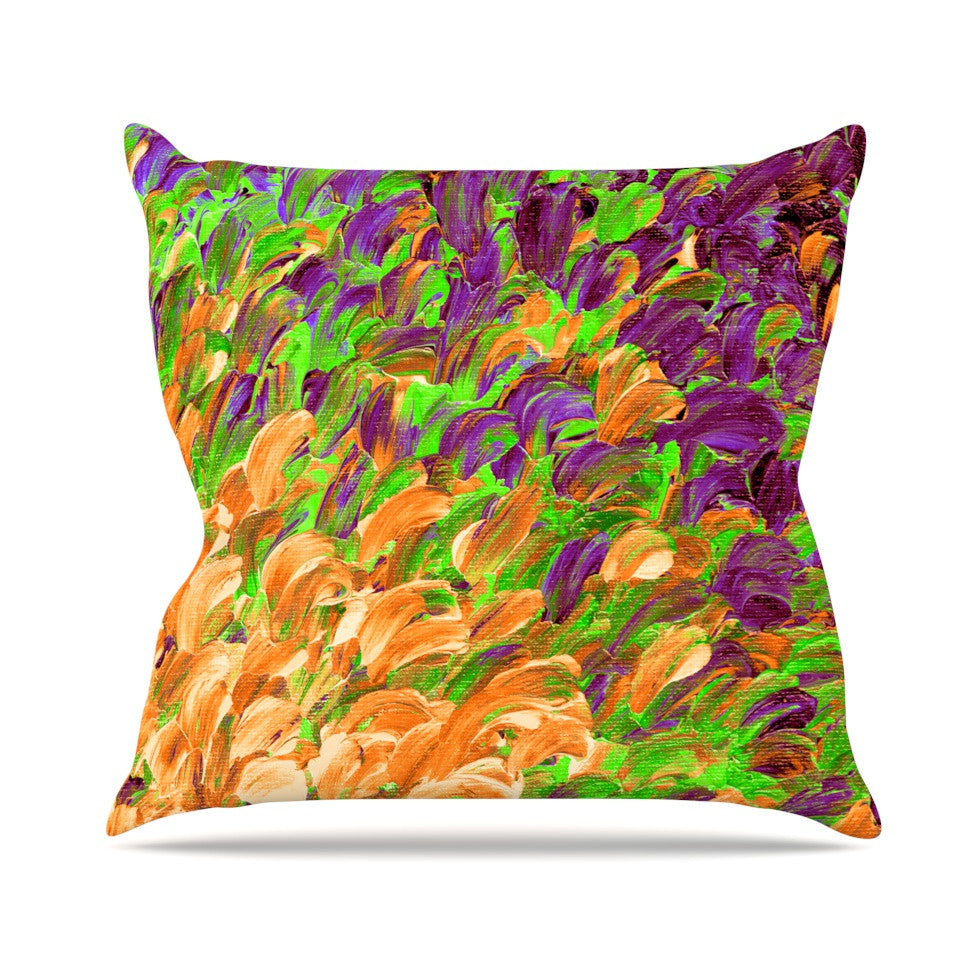 "Ebi Emporium ""Follow the Current III"" Orange Green Outdoor Throw Pillow - KESS InHouse  - 1"