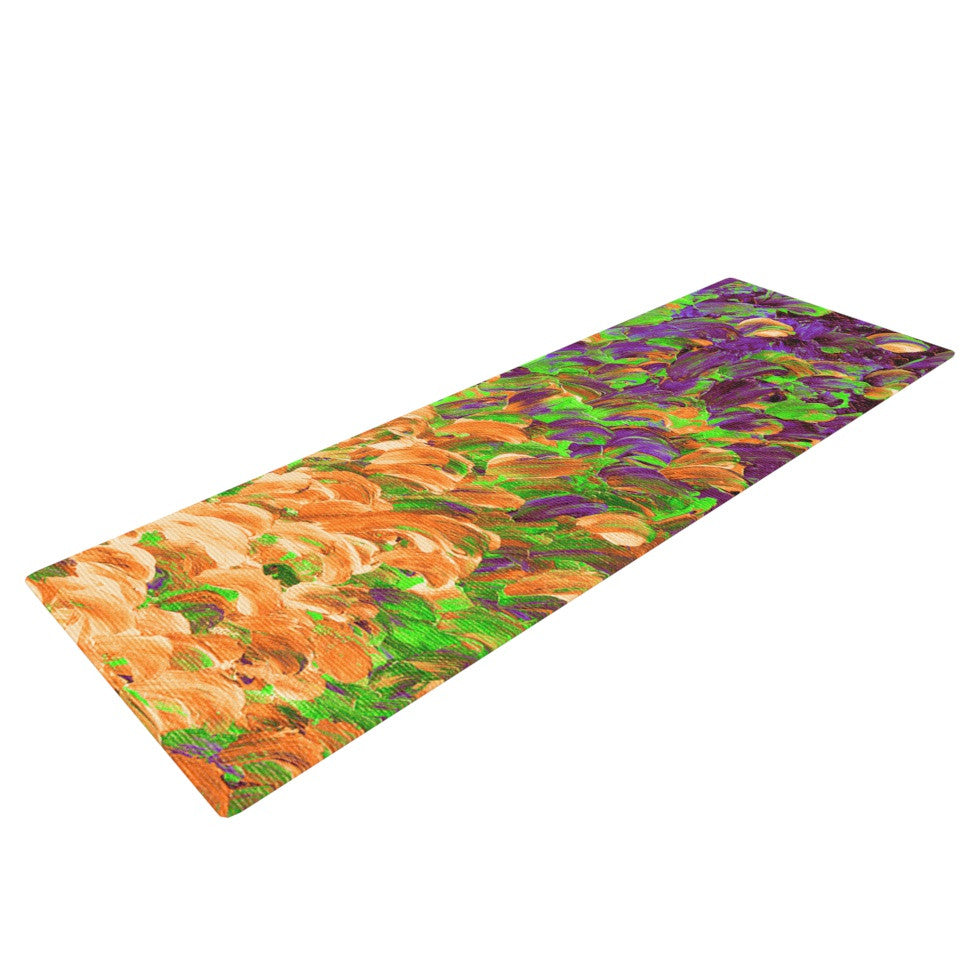 "Ebi Emporium ""Follow the Current III"" Orange Green Yoga Mat - KESS InHouse  - 1"