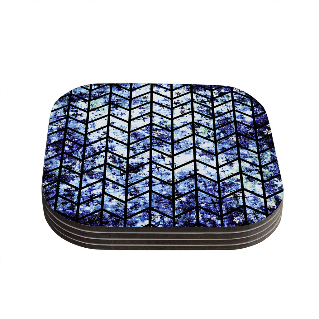 "Ebi Emporium ""Chevron Wonderland II"" Blue Black Coasters (Set of 4)"
