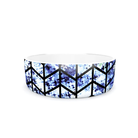 "Ebi Emporium ""Chevron Woderland ll"" Blue Black Pet Bowl - Outlet Item"