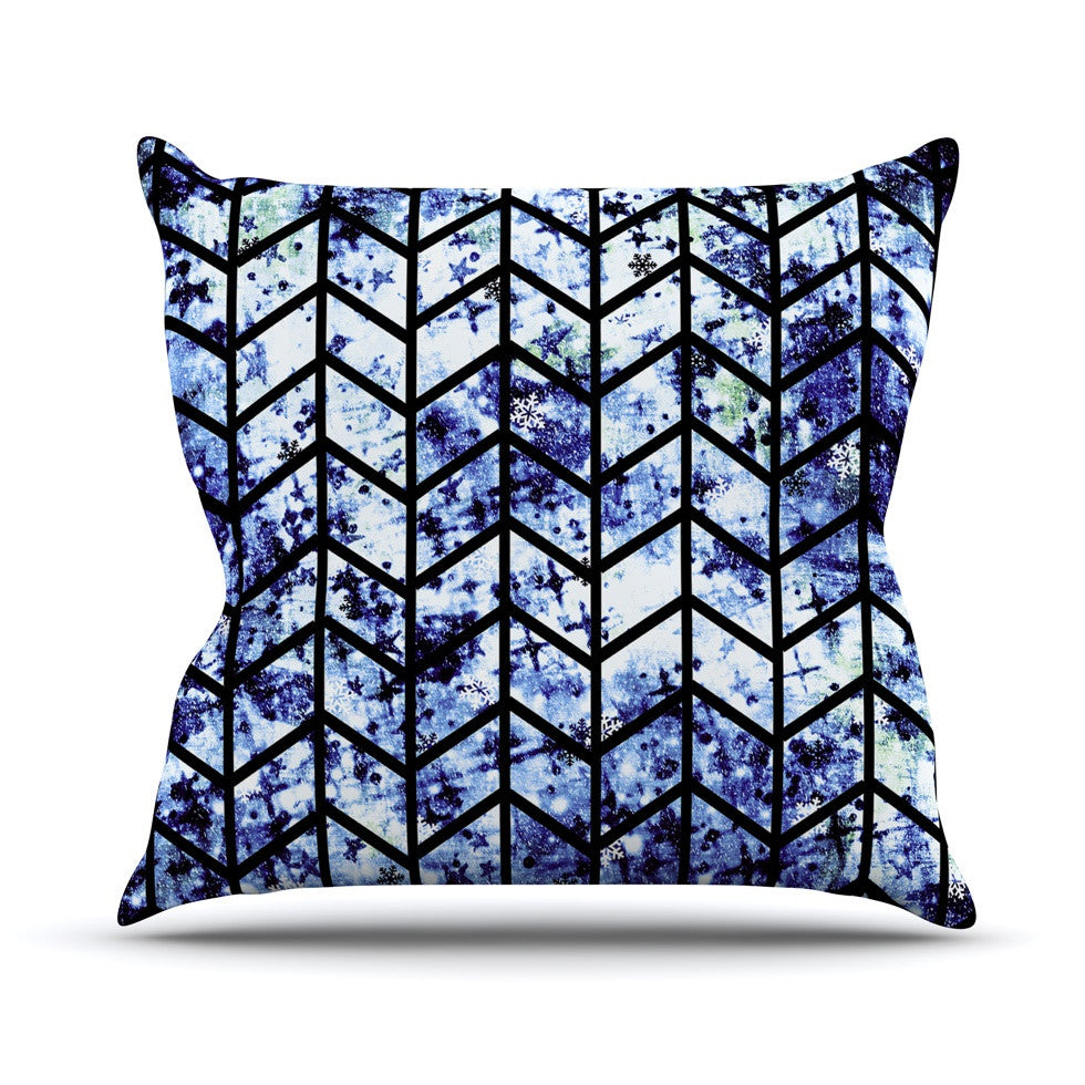 "Ebi Emporium ""Chevron Wonderland II"" Blue Black Outdoor Throw Pillow - KESS InHouse  - 1"