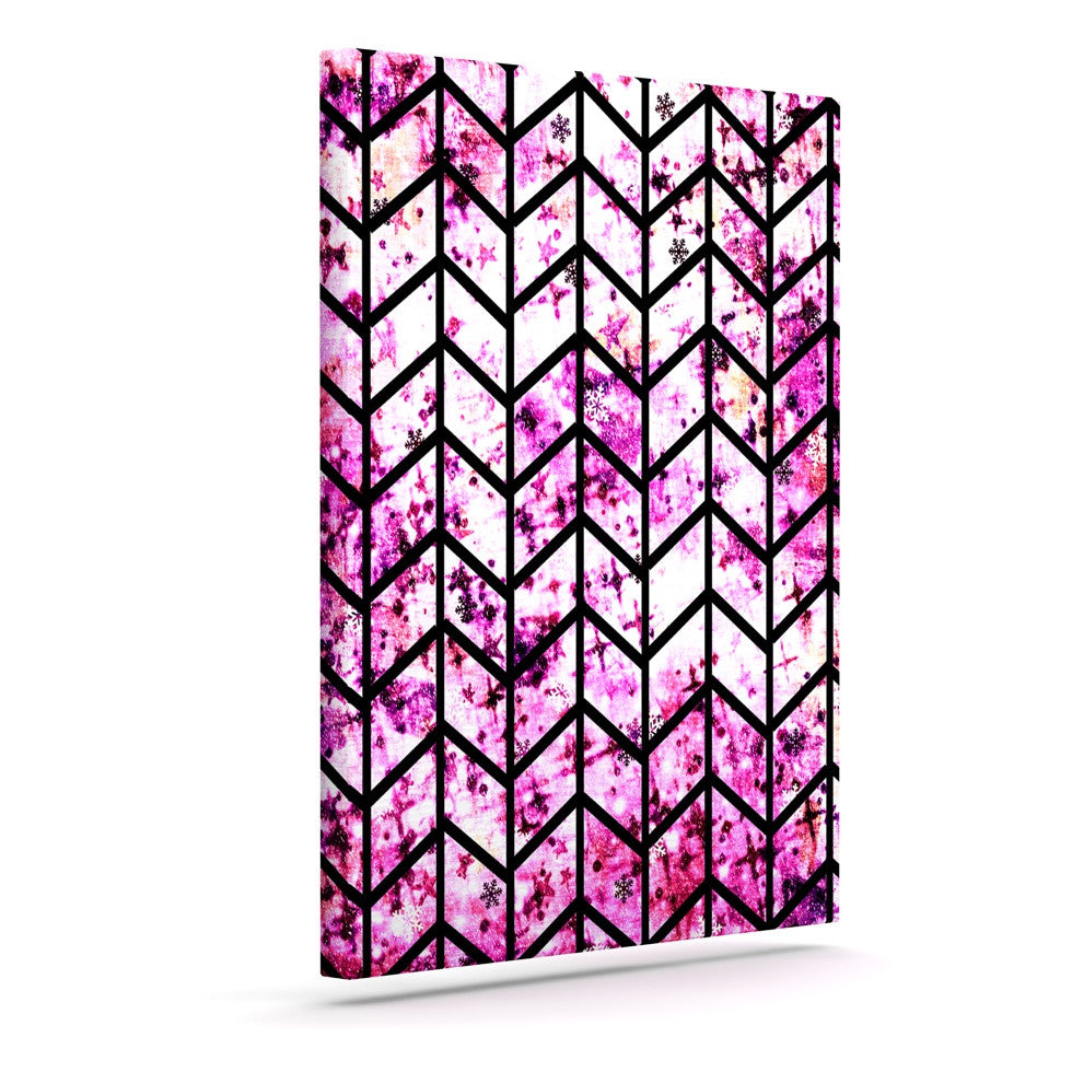 "Ebi Emporium ""Chevron Wonderland"" Pink Black Canvas Art - KESS InHouse  - 1"