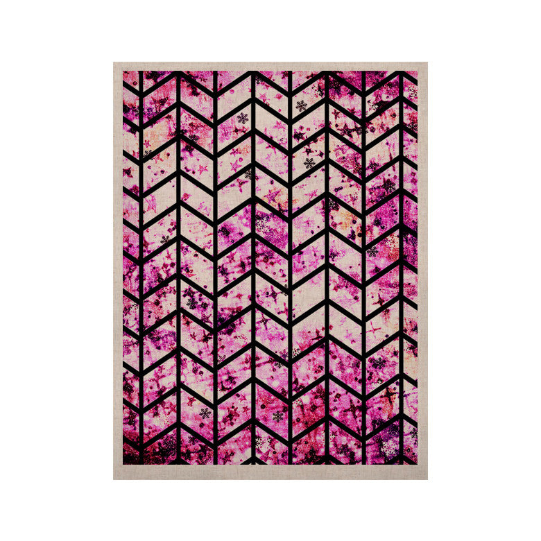 "Ebi Emporium ""Chevron Wonderland"" Pink Black KESS Naturals Canvas (Frame not Included) - KESS InHouse  - 1"
