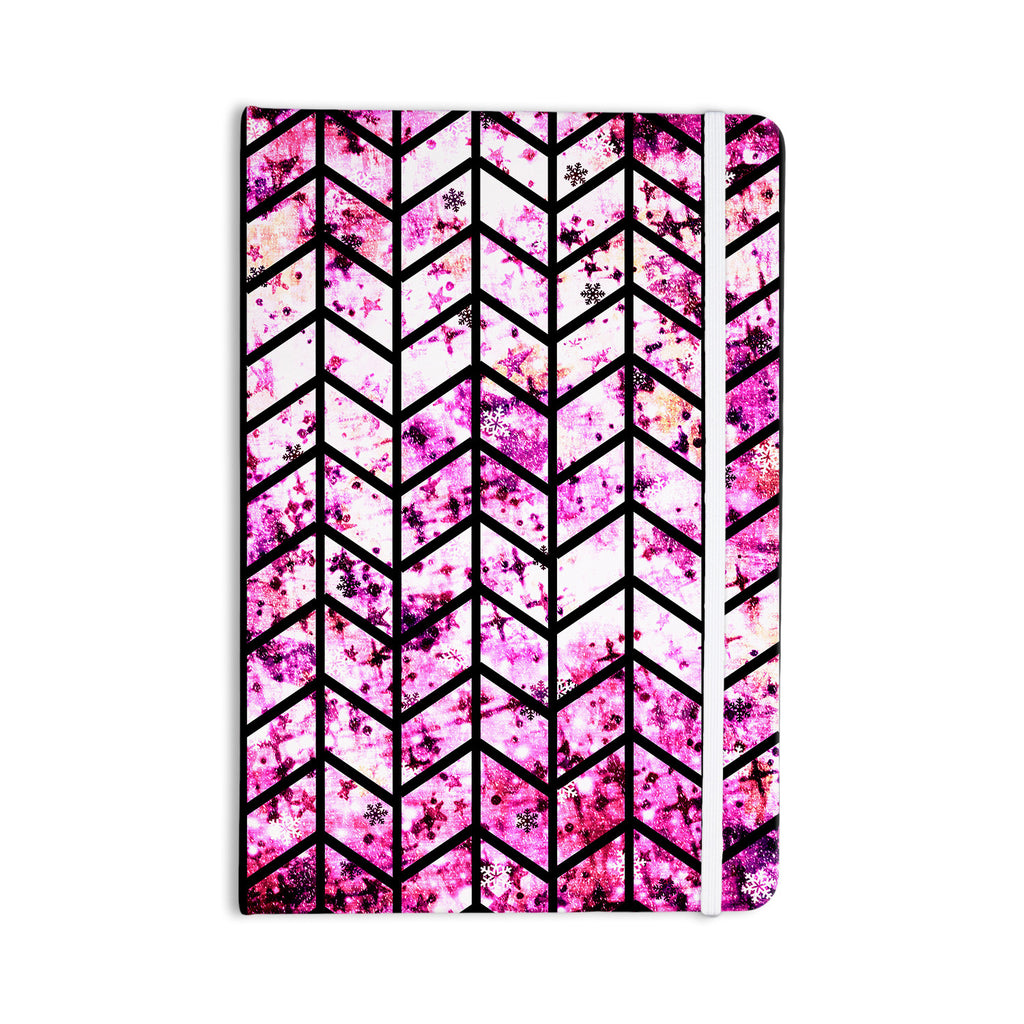 "Ebi Emporium ""Chevron Wonderland"" Pink Black Everything Notebook - KESS InHouse  - 1"