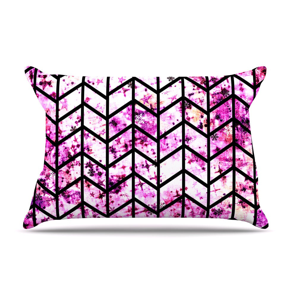 "Ebi Emporium ""Chevron Wonderland"" Pink Black Pillow Sham - KESS InHouse"