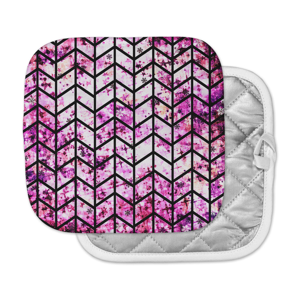 "Ebi Emporium ""Chevron Wonderland"" Pink Black Pot Holder"
