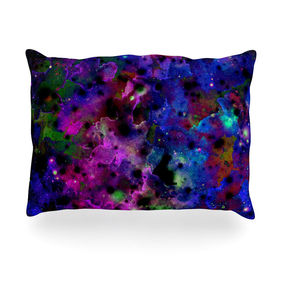 "Ebi Emporium ""Color Me Floral"" Celestial Blue Oblong Pillow - KESS InHouse"