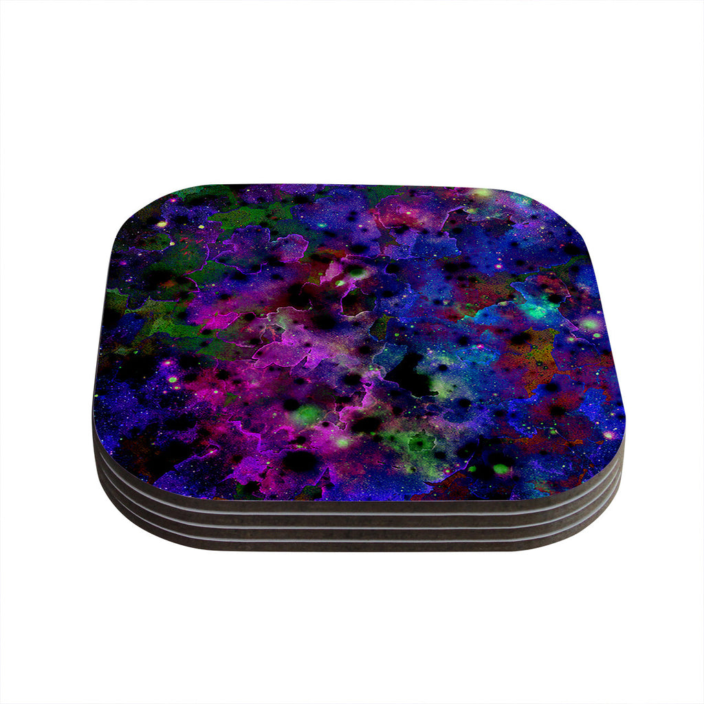 "Ebi Emporium ""Color Me Floral"" Celestial Blue Coasters (Set of 4)"