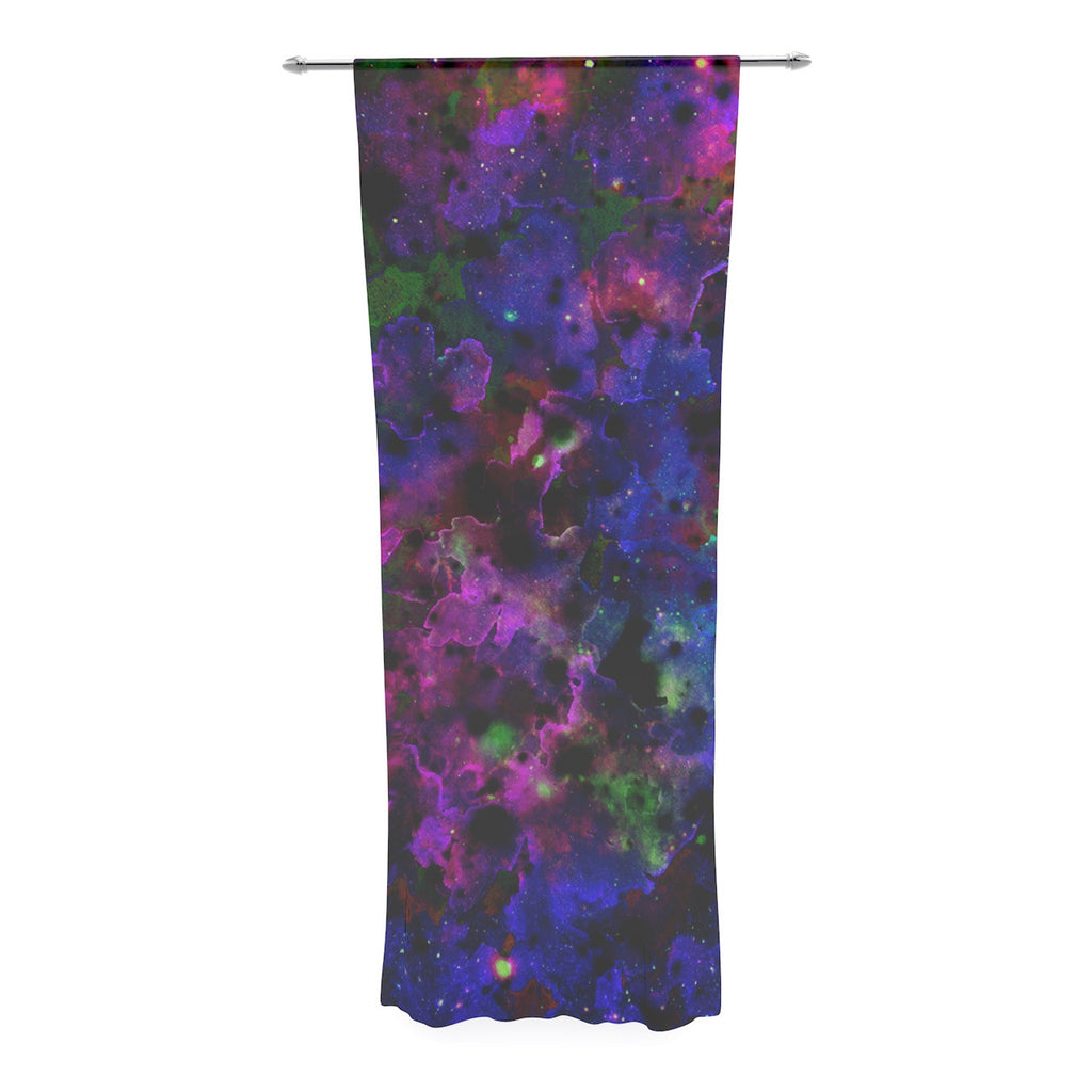 "Ebi Emporium ""Color Me Floral"" Celestial Blue Decorative Sheer Curtain - KESS InHouse  - 1"