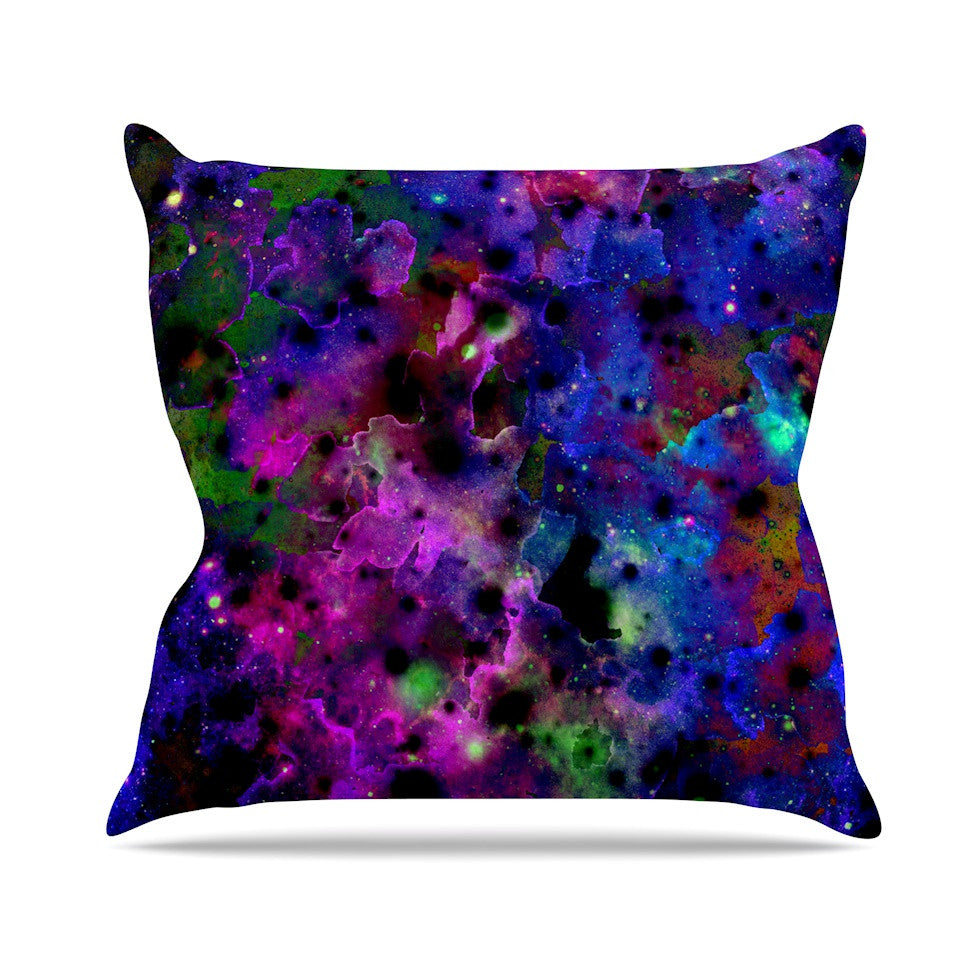 "Ebi Emporium ""Color Me Floral"" Celestial Blue Throw Pillow - KESS InHouse  - 1"