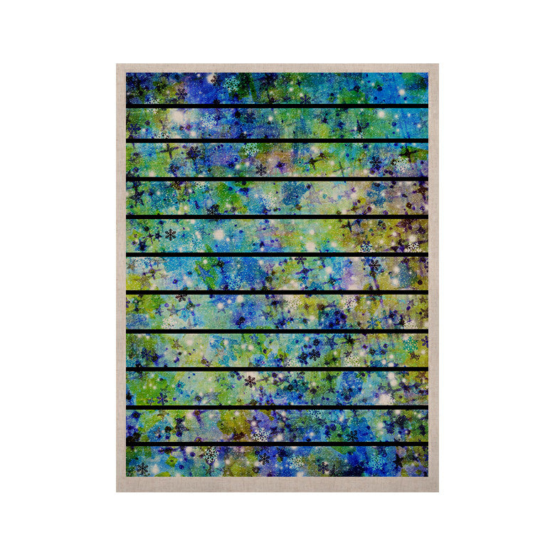 "Ebi Emporium ""Stripes & Snowflakes"" Blue Green KESS Naturals Canvas (Frame not Included) - KESS InHouse  - 1"