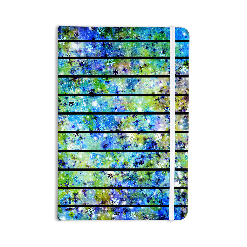 "Ebi Emporium ""Stripes & Snowflakes"" Blue Green Everything Notebook - KESS InHouse  - 1"
