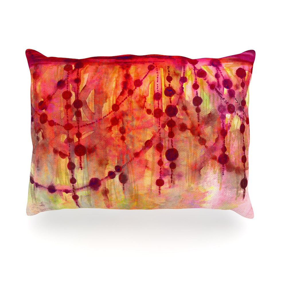 "Ebi Emporium ""Prismacolor Pearls"" Pink Orange Oblong Pillow - KESS InHouse"