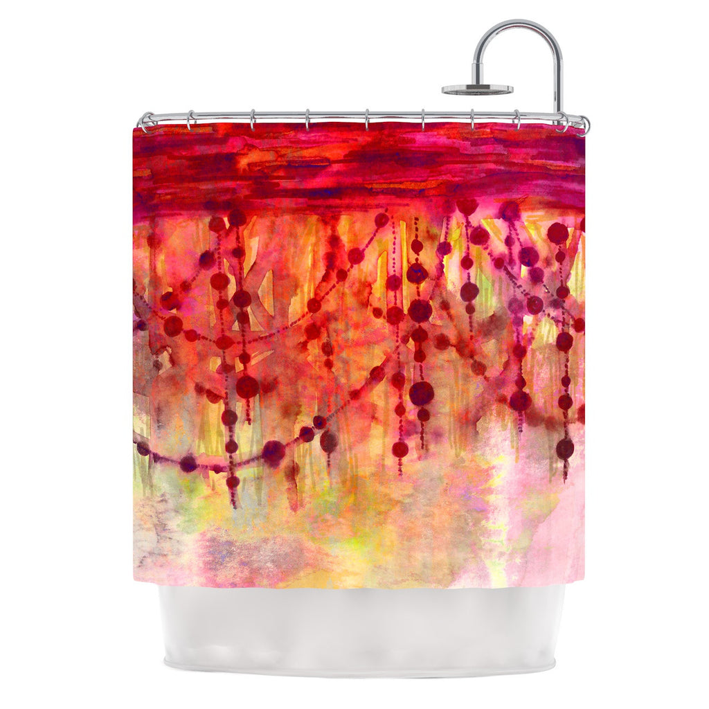 "Ebi Emporium ""Prismacolor Pearls"" Pink Orange Shower Curtain - KESS InHouse"
