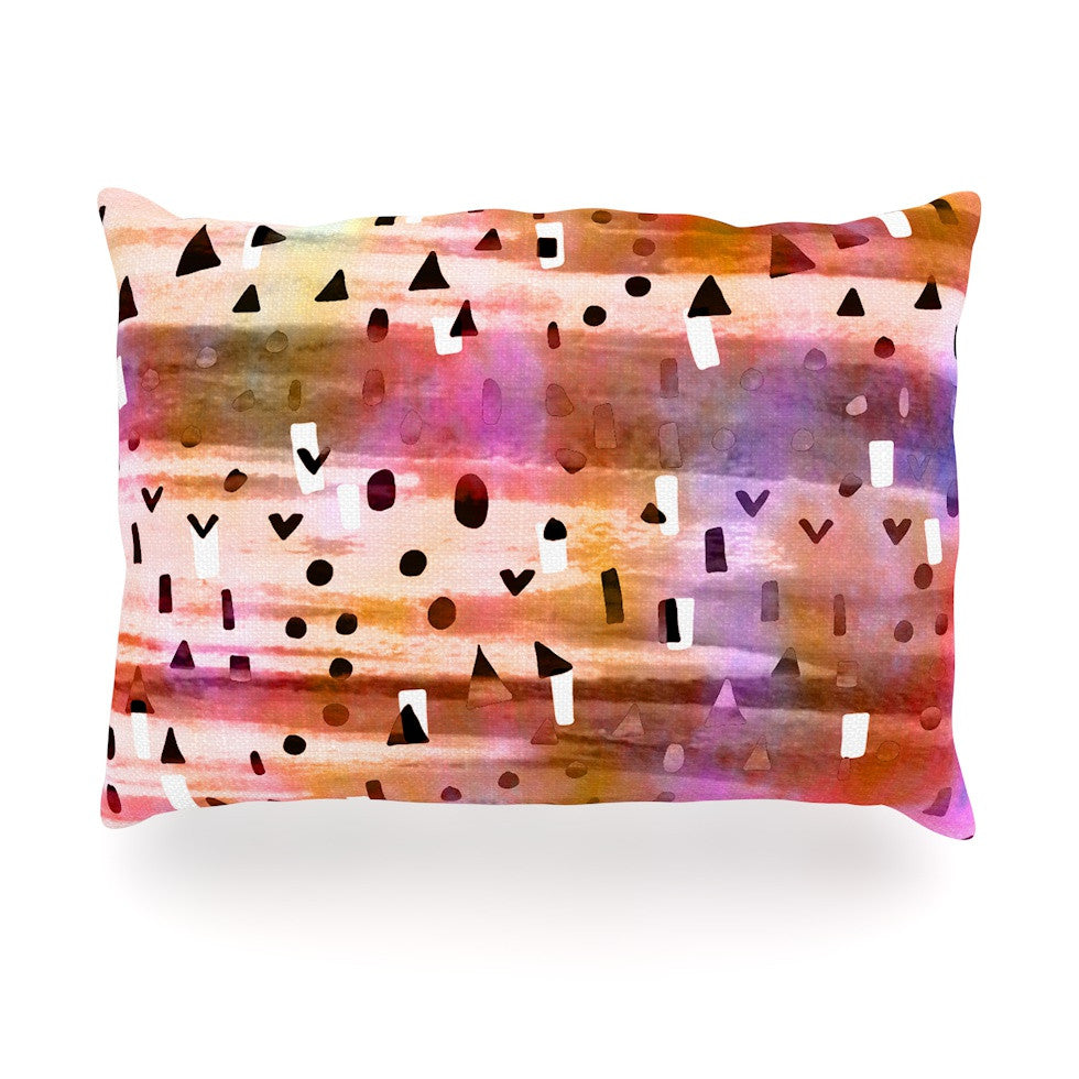 "Ebi Emporium ""Geo Party - Pink"" Multicolor Painting Oblong Pillow - KESS InHouse"
