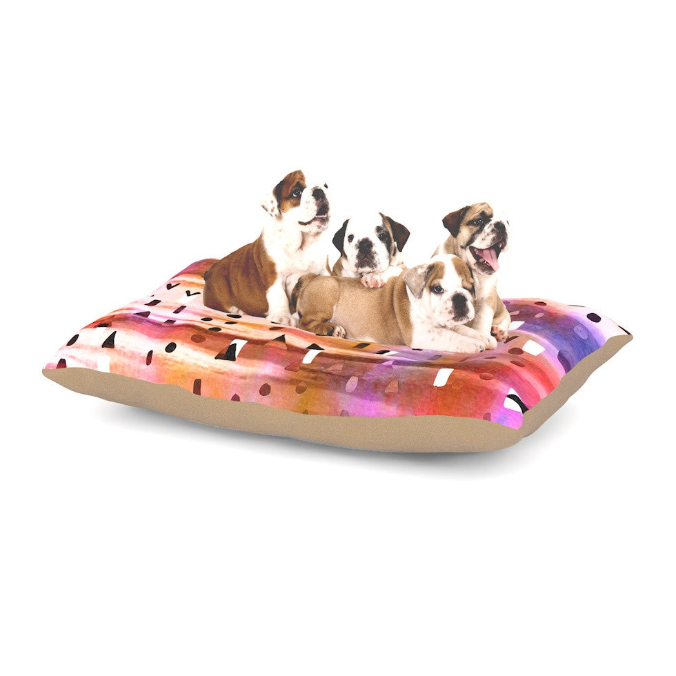 "Ebi Emporium ""Geo Party - Pink"" Multicolor Painting Dog Bed - KESS InHouse  - 1"