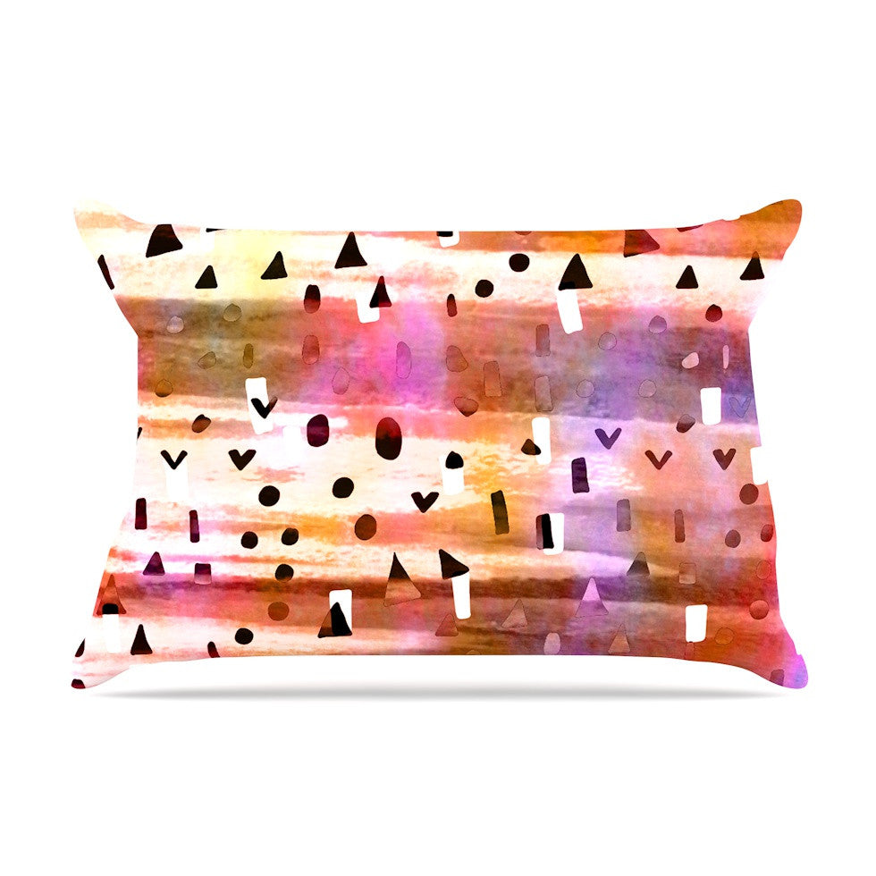"Ebi Emporium ""Geo Party - Pink"" Multicolor Painting Pillow Sham - KESS InHouse"