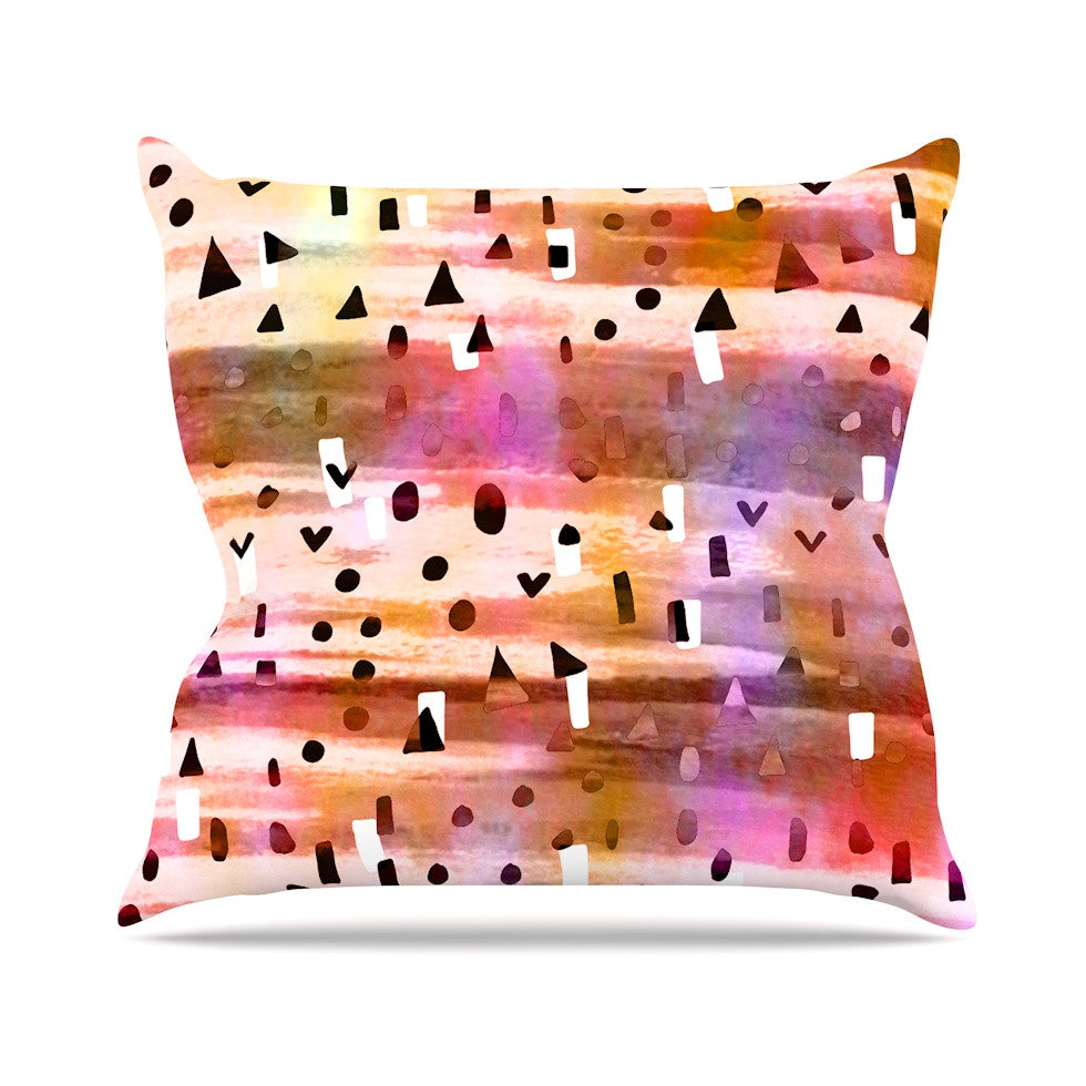 "Ebi Emporium ""Geo Party - Pink"" Multicolor Painting Outdoor Throw Pillow - KESS InHouse  - 1"