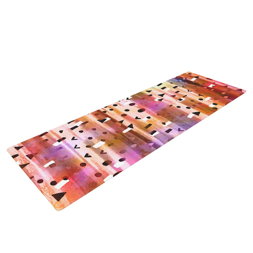 "Ebi Emporium ""Geo Party - Pink"" Multicolor Painting Yoga Mat - KESS InHouse  - 1"