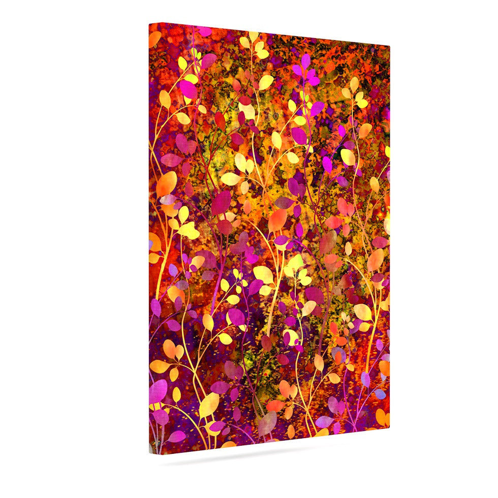 "Ebi Emporium ""Amongst the Flowers - Warm Sunset"" Pink Orange Canvas Art - KESS InHouse  - 1"