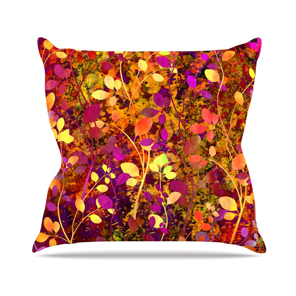 "Ebi Emporium ""Amongst the Flowers - Warm Sunset"" Pink Orange Outdoor Throw Pillow - KESS InHouse  - 1"
