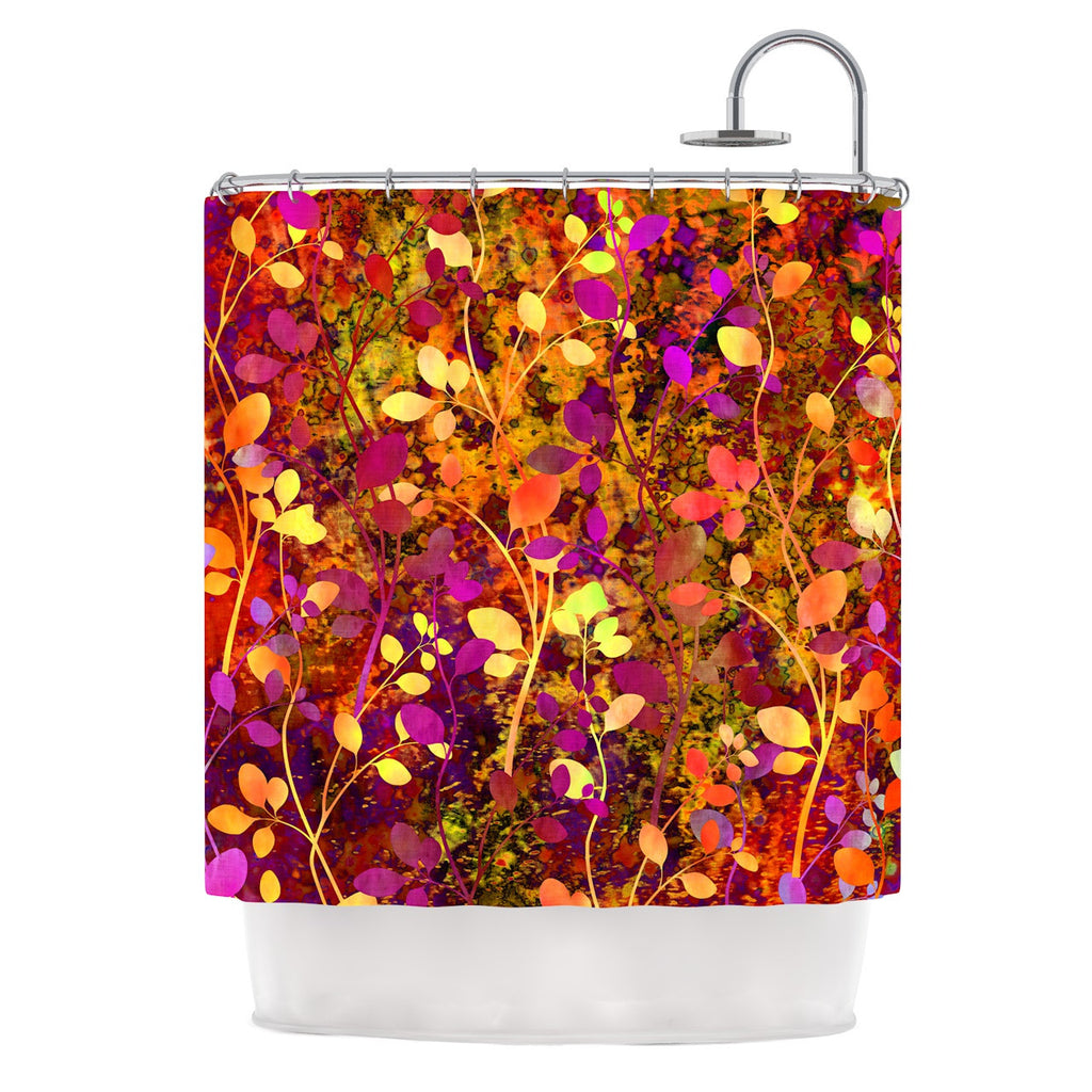 "Ebi Emporium ""Amongst the Flowers - Warm Sunset"" Pink Orange Shower Curtain - KESS InHouse"