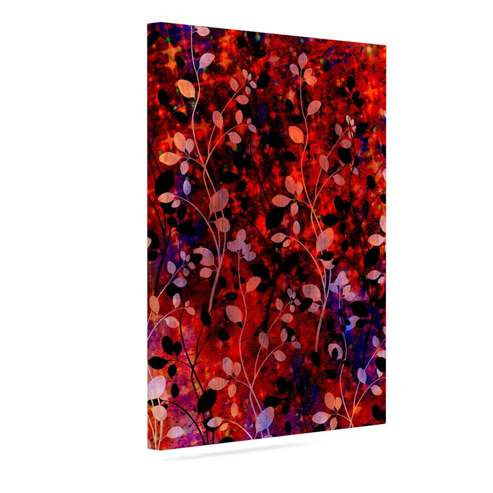 "Ebi Emporium ""Amongst the Flowers - Summer Nights"" Red Black Canvas Art - KESS InHouse  - 1"