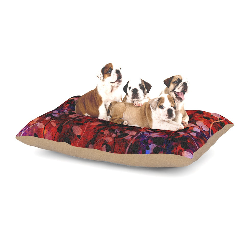 "Ebi Emporium ""Amongst the Flowers - Summer Nights"" Red Black Dog Bed - KESS InHouse  - 1"