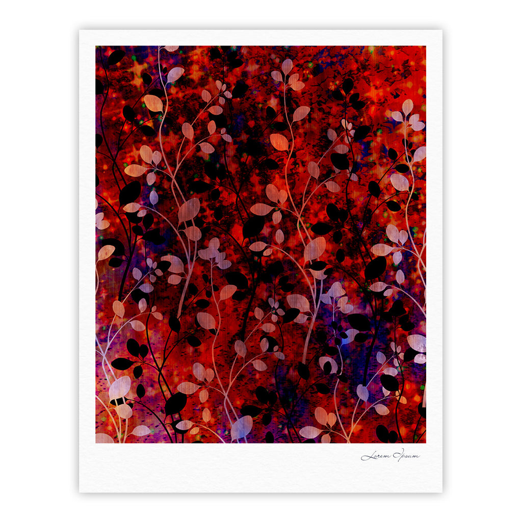 "Ebi Emporium ""Amongst the Flowers - Summer Nights"" Red Black Fine Art Gallery Print - KESS InHouse"