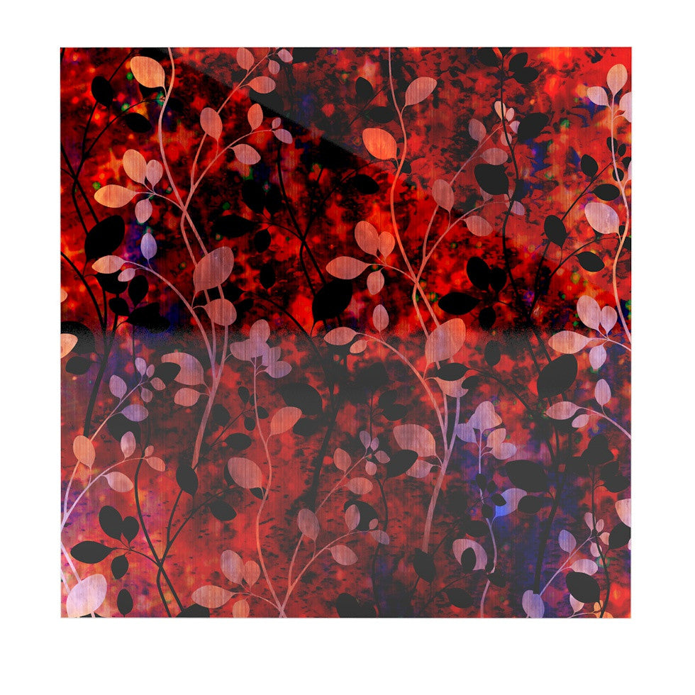 "Ebi Emporium ""Amongst the Flowers - Summer Nights"" Red Black Luxe Square Panel - KESS InHouse  - 1"