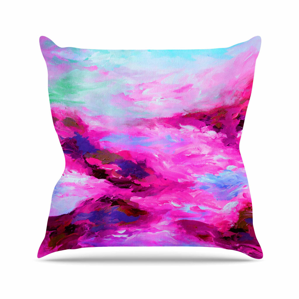 "Ebi Emporium ""Taken By The Undertow 4"" Pink Magenta Throw Pillow - KESS InHouse  - 1"