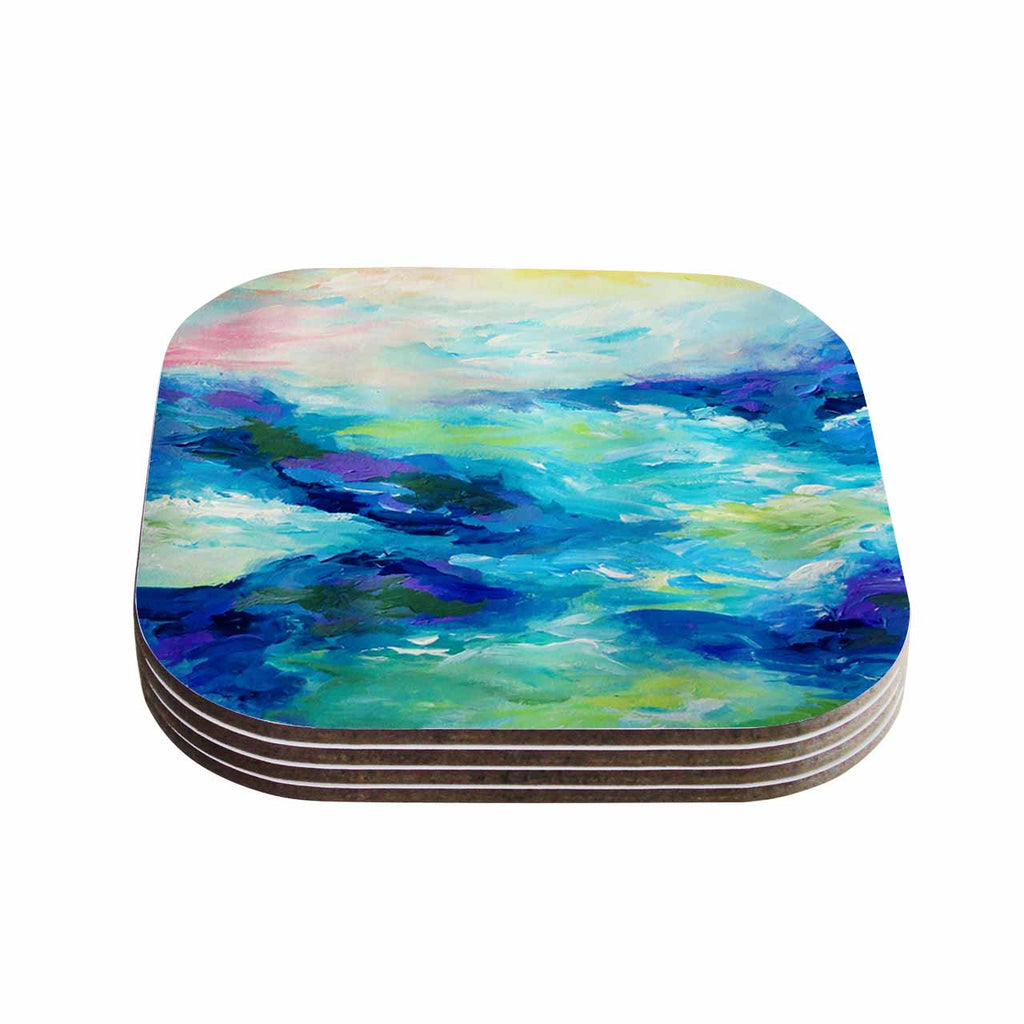 "Ebi Emporium ""Taken By The Undertow"" Green Blue Coasters (Set of 4)"