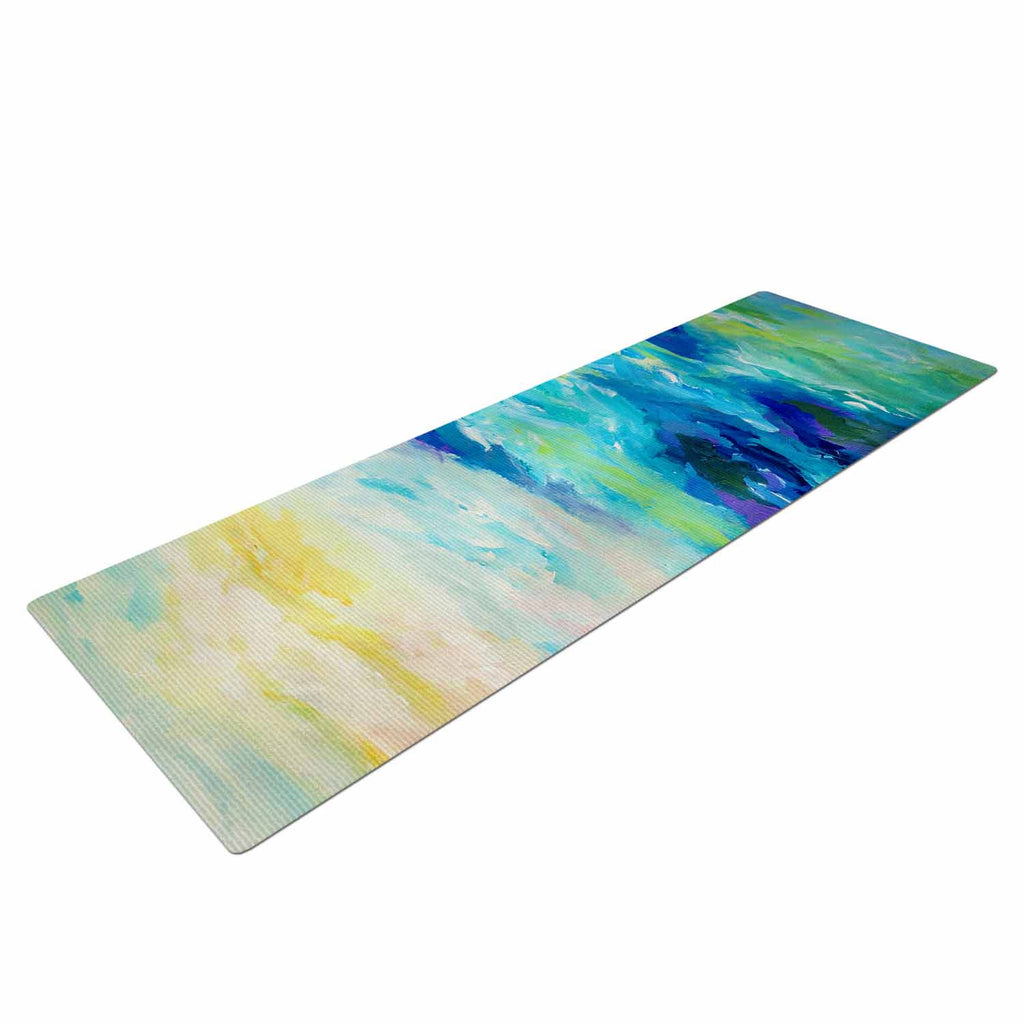 "Ebi Emporium ""Taken By The Undertow"" Green Blue Yoga Mat - KESS InHouse  - 1"