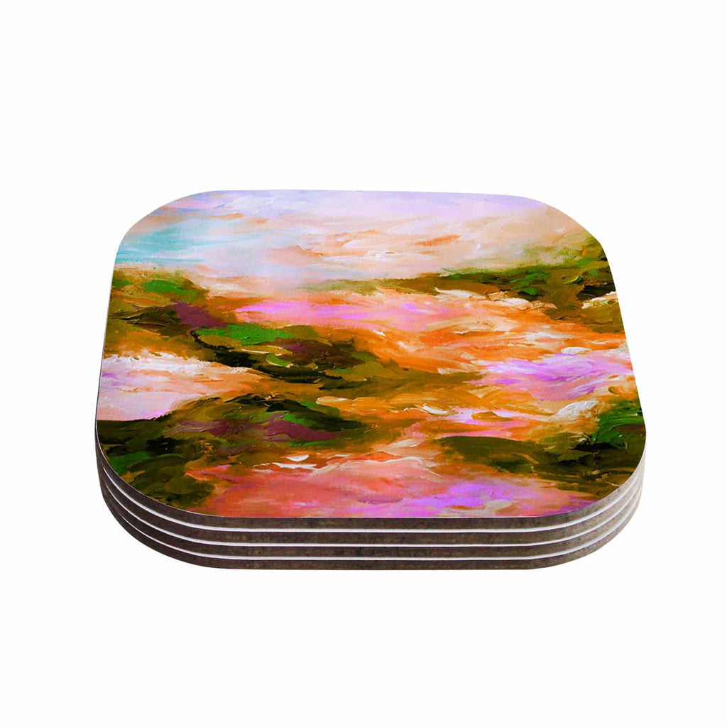 "Ebi Emporium ""Taken By The Undertow 2"" Pink Orange Coasters (Set of 4)"