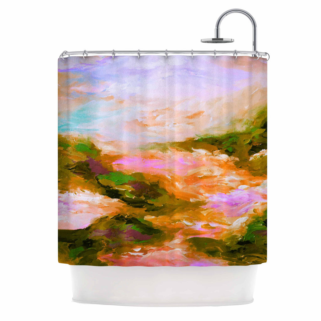 "Ebi Emporium ""Taken By The Undertow 2"" Pink Orange Shower Curtain - KESS InHouse"