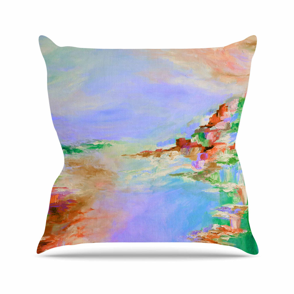 "Ebi Emporium ""Something About the Sea 3"" Multicolor Lavender Outdoor Throw Pillow - KESS InHouse  - 1"