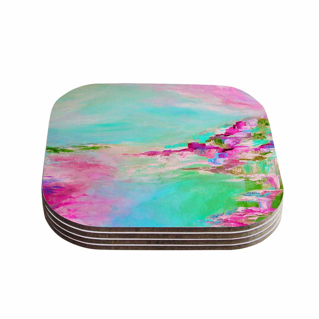 "Ebi Emporium ""Something About the Sea 2"" Teal Pink Coasters (Set of 4)"