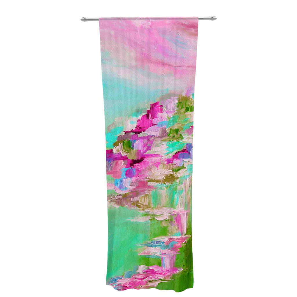 "Ebi Emporium ""Something About the Sea 2"" Teal Pink Decorative Sheer Curtain - KESS InHouse  - 1"