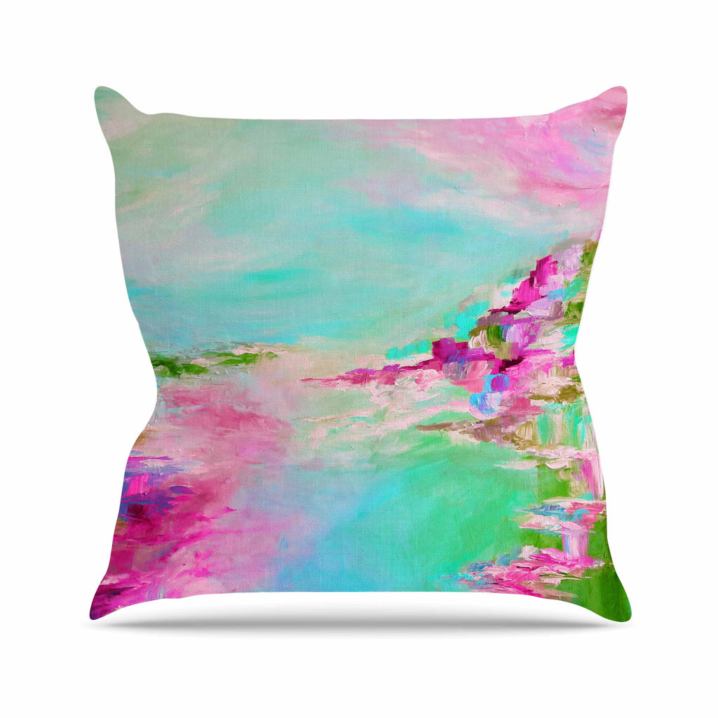 "Ebi Emporium ""Something About the Sea 2"" Teal Pink Outdoor Throw Pillow - KESS InHouse  - 1"