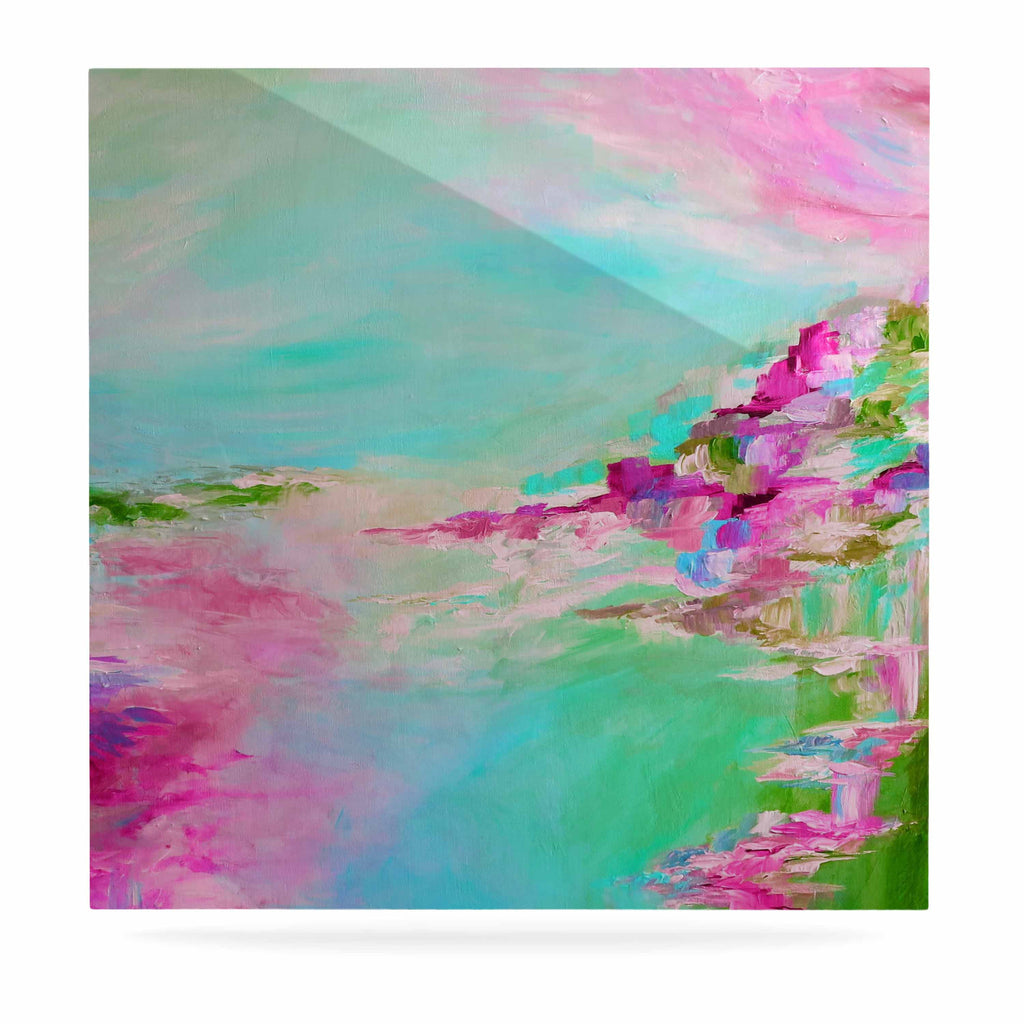 "Ebi Emporium ""Something About the Sea 2"" Teal Pink Luxe Square Panel - KESS InHouse  - 1"