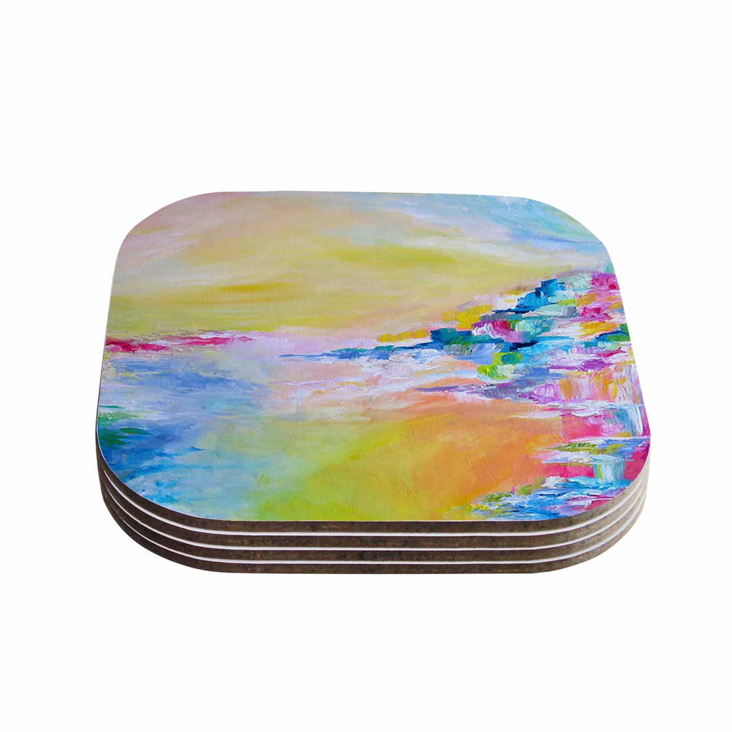 "Ebi Emporium ""Something About the Sea"" Yellow Multicolor Coasters (Set of 4)"